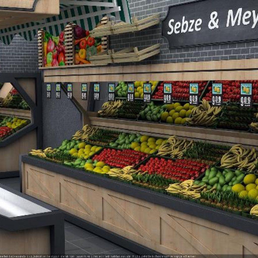میوه و سبزیجات در سوپرمارکت